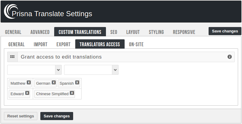 Admin panel - Translators access