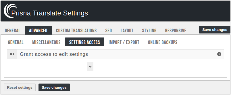 Admin panel - Settings access