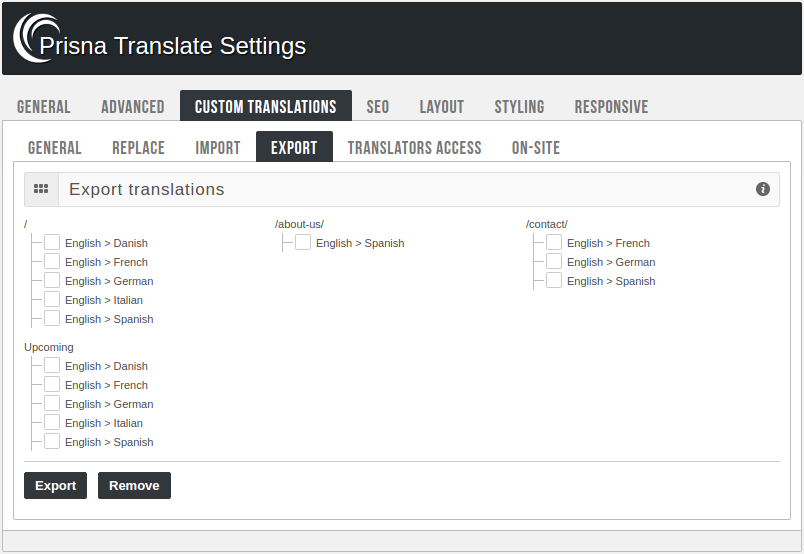 Admin panel - Export translations