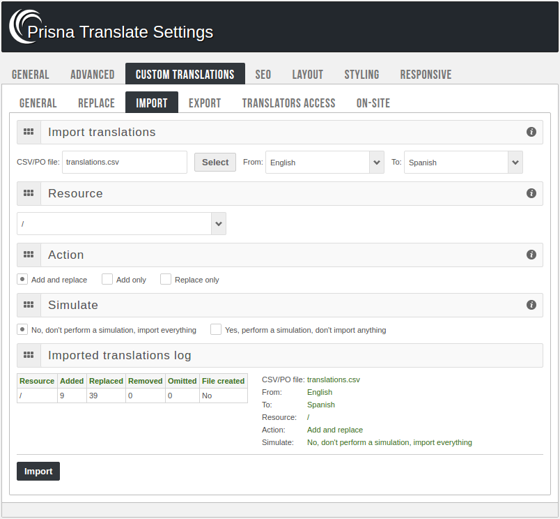 Admin panel - Import translations