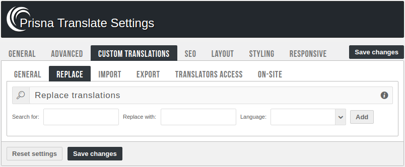 Admin panel - Replace translations